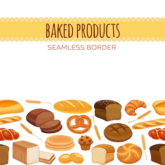 Seamless border with bread