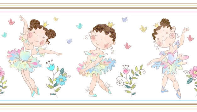 Seamless border with cute ballerinas girls.