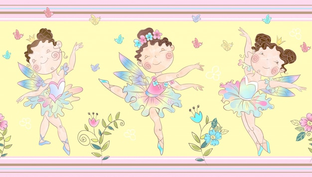 Seamless border with cute little magical fairies.