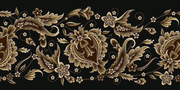 Seamless border with decorative floral element in oriental style