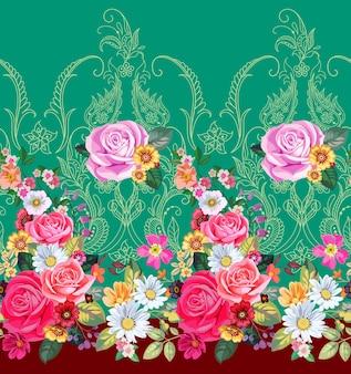 빅토리아 스타일의 페이즐리와 장미와 원활한 테두리
