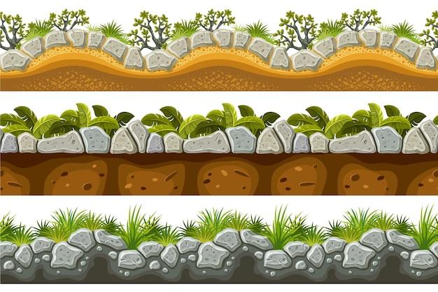 원활한 테두리 회색 바위 잔디 흙