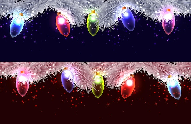 クリスマスツリー、花輪、輝きのさまざまな枝のシームレスな境界線