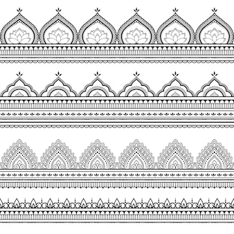 シームレスなボーダーパターン。エスニックオリエンタル、インド風の装飾。落書き飾り。手描きイラストの概要を説明します。