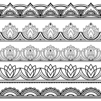 Seamless borders pattern for mehndi, henna drawing and tattoo.
