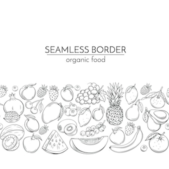 Seamless borders with hand drawn fruits
