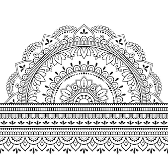 Seamless borders with mandala . decorative pattern in ethnic oriental, indian style. doodle ornament. outline hand draw   illustration.