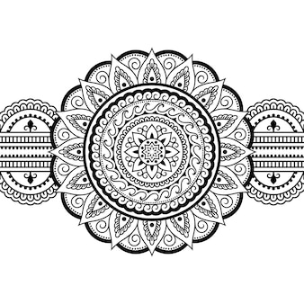 マンダラとのシームレスな境界線。エスニックオリエンタル、インド風の装飾模様。落書き飾り。手描きイラストの概要を説明します。