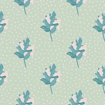 Brnachesとベリーとのシームレスな植物パターン。淡いピンクとブルーのシンプルな手描きの花のシルエット。点線の背景。
