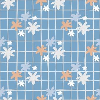 Бесшовный ботанический образец с цветами ромашки. синий фон с чеком. простой фон.