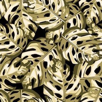 ゴールドモンステラとシームレスな植物のランダムパターンを残します。黒の背景。包装紙、織物プリント、壁紙に最適です。図。