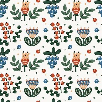 フォークエスニックスタイルの要素のシームレスな植物の花柄。花、葉、ベリー