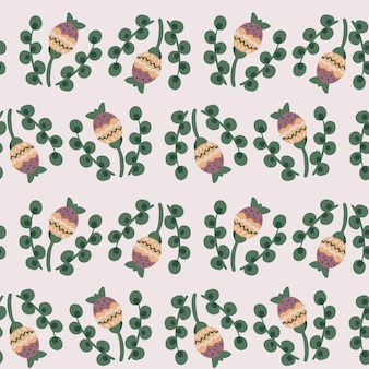 Бесшовный ботанический цветочный узор из элементов в народном этническом стиле