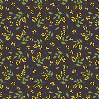 Seamless botanical floral pattern yellow seaberries green twigs leaves allover print