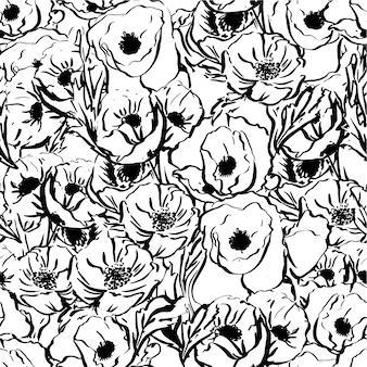 手で描かれたシームレスな植物の花の花束。インク描画。ヴィンテージモノクロ要素。テキスタイル、ファブリック、装飾、パッケージング、印刷のデザイン