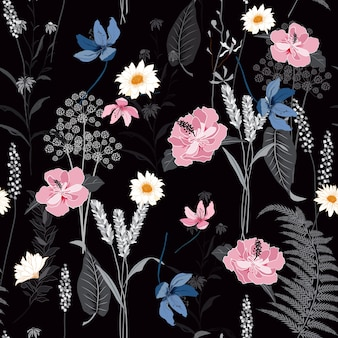Seamless botanical flowers pattern vector