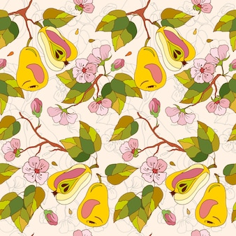 Seamless botanical pattern of stylized apples and pears with leaves