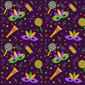Seamless brazilian carnival pattern with maracas and dots