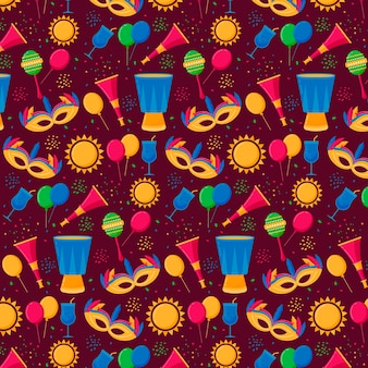 Seamless brazilian carnival pattern with masks and decorations