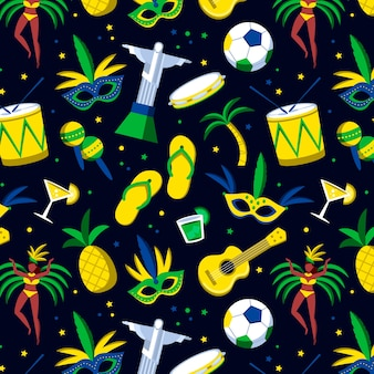 Seamless brazilian carnival pattern with musical instruments