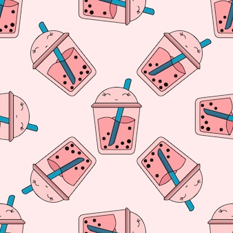 Seamless bright pattern bubble tea fruit summer drink kawaii pink Premium Vector
