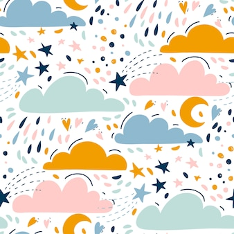 Seamless bright pattern for kids with cute clouds, stars, moon