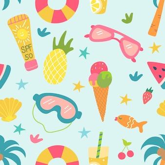 Seamless bright pattern of summer beach elements