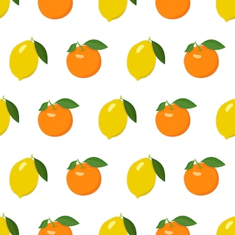 Seamless bright pattern with lemon and orange