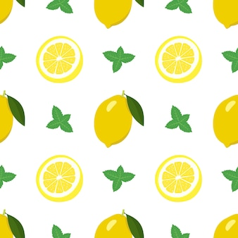 Seamless bright spring and summer pattern with lemon and slices and mint leaves set of citrus fruit