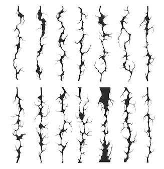 원활한 깨진 벽 균열, 갈라진 틈 및 딱딱거리는 소리
