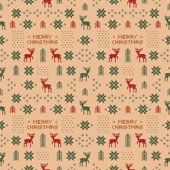 Deers와 원활한 갈색 복고풍 크리스마스 패턴