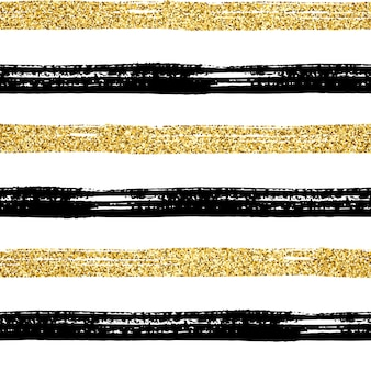 Seamless brush stroke pattern. black and golden glitter hand drawn stripes on white. textured striped gold abstract background design. trendy texture for print, wallpaper, decor, fabric, textil