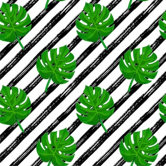 Seamless brush stroke pattern. black hand drawn stripes with tropical palm leaves.