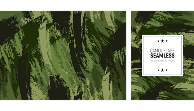 Seamless brush stroke pattern. camouflage modern background