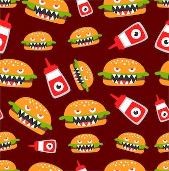 シームレスなハンバーガーモンスターパターン