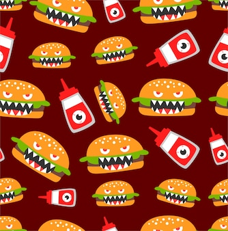 Seamless burger monster pattern