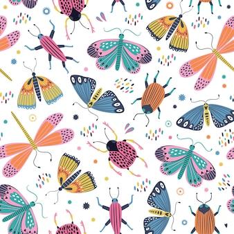 スカンジナビアスタイルのシームレスな蝶と昆虫のパターン。