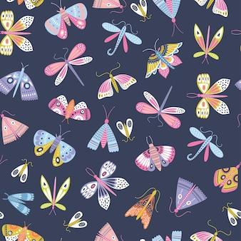 Бесшовный образец бабочек в скандинавском стиле.