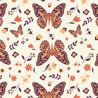 Бесшовный образец бабочки