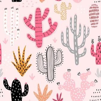 원활한 선인장 패턴 귀여운 화려한 손으로 그린