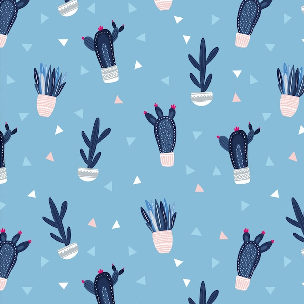 Seamless cacti and succulent pattern