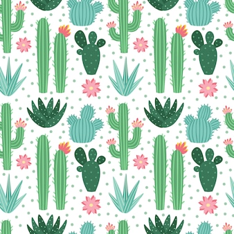 Seamless cactus pattern. exotic desert cacti houseplants, repeating cactuses  background
