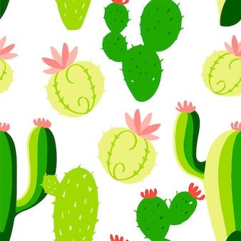원활한 선인장 패턴입니다. 손으로 그린 그림. 인사말 카드, 포스터, 배너 요소입니다. 티셔츠, 노트북 및 스티커 디자인
