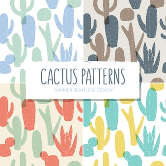 Seamless cactus patterns collection