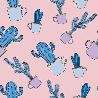 Бесшовный кактус с перчатками пастельных тонов.
