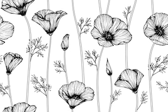 Seamless California poppy flower pattern background.