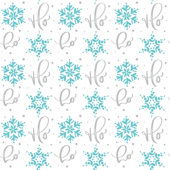 Seamless calligraphic christmas  pattern with text ho ho ho and snowflakes