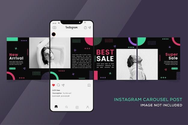 Seamless carousel instagram templates banner for fashion sale
