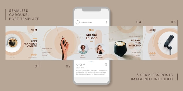 Seamless carousel post template with coffee podcast theme for social media.