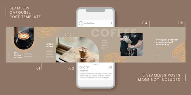 Seamless carousel post template with coffee theme for social media.